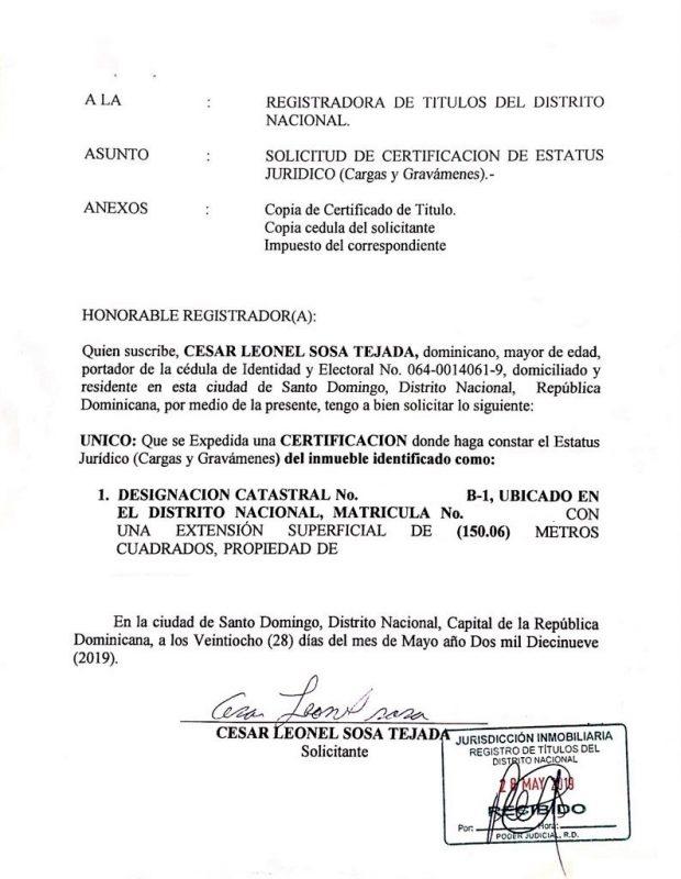 Carta de Solicitud - Requisitos para solicitar una Certificacion de Carga y Gravamen