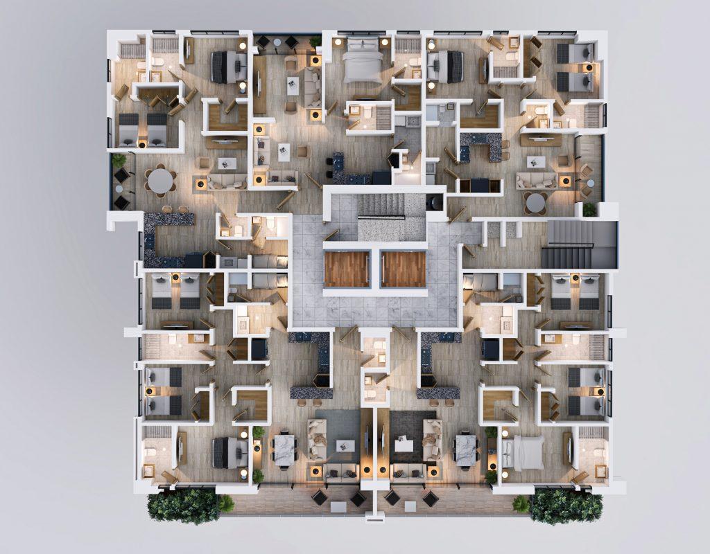 Torre de apartamentos en construcción en Serralles